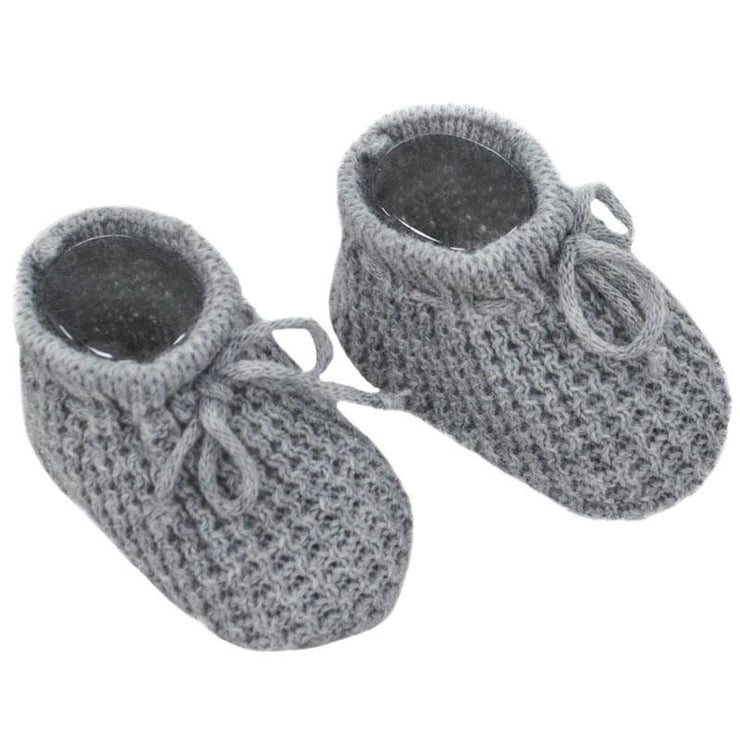 Soft Touch Grey Knitted Bootees | Millie and John