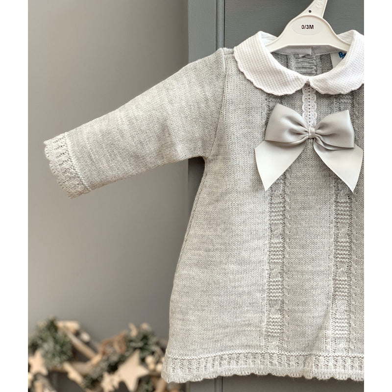 Bee Bo Grey Knitted Bow Dress | Millie and John