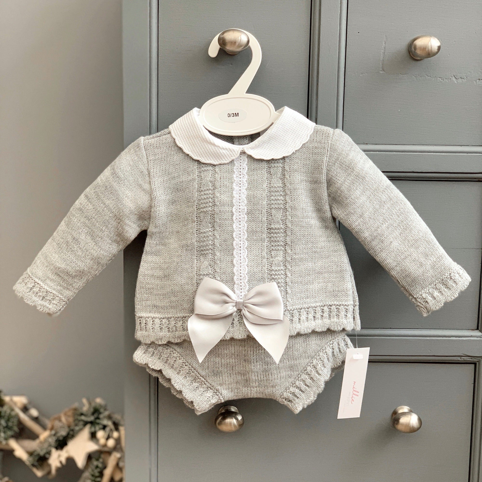 Grey Knitted Bow Top & Bloomers
