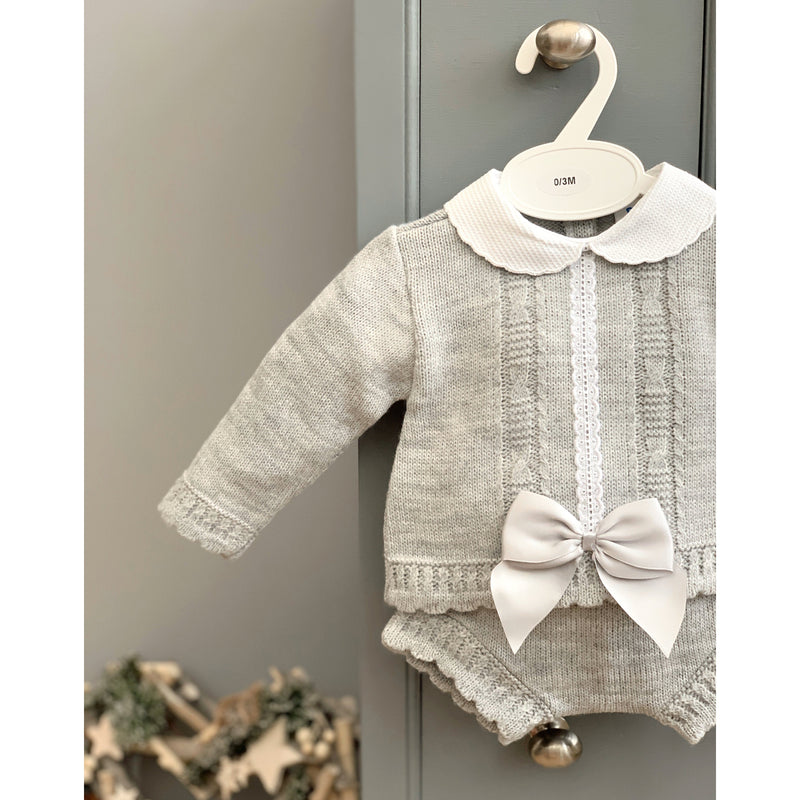 Bee Bo Grey Knitted Bow Top & Bloomers | Millie and John