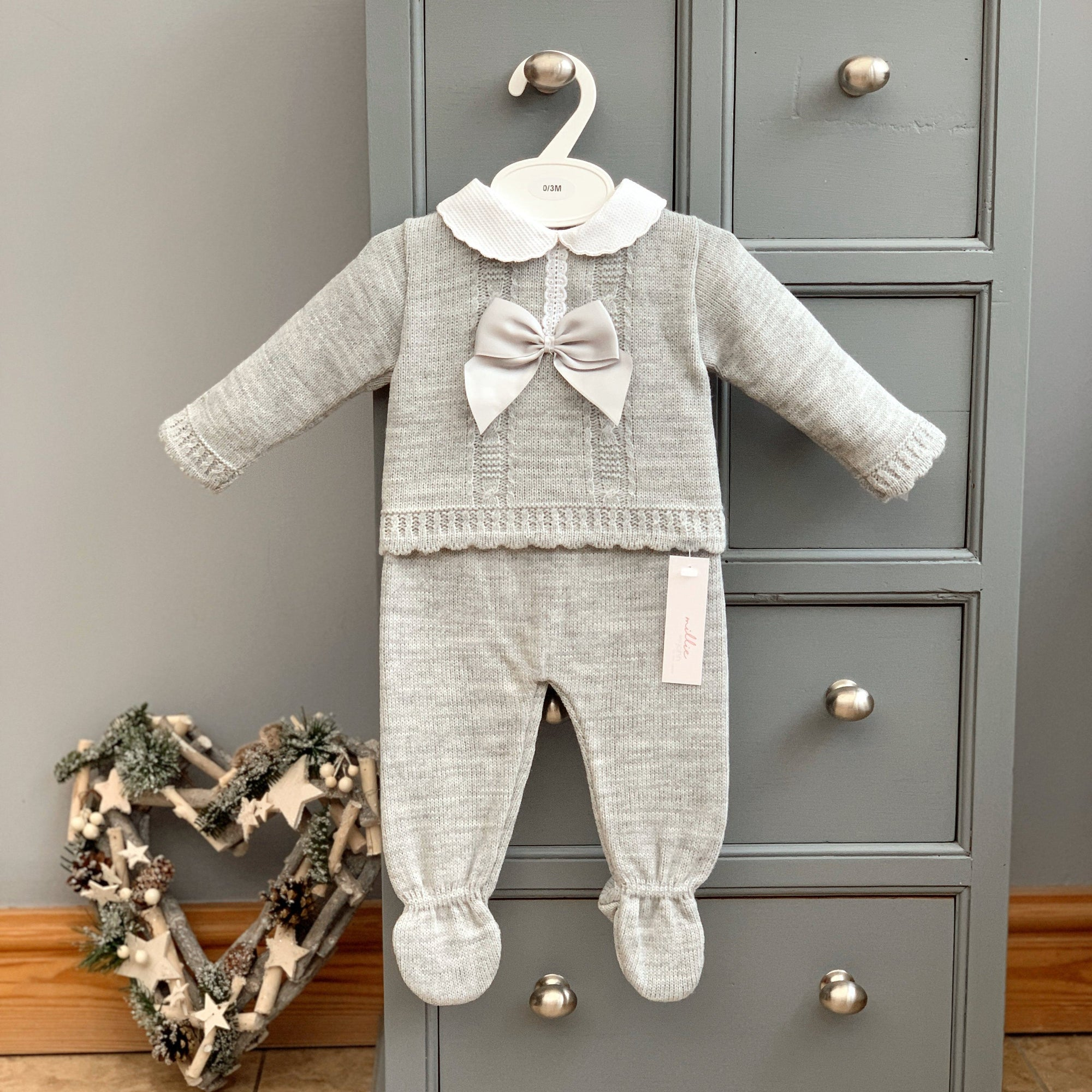Bee Bo Grey Knitted Bow Top & Leggings | Millie and John