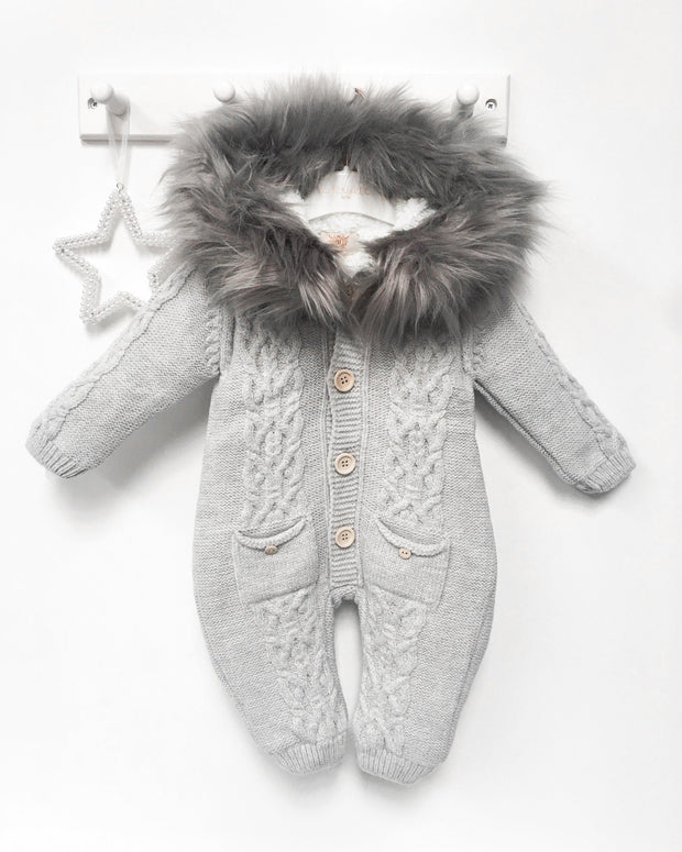 Caramelo Kids Grey Knitted Faux Fur Pramsuit | Millie and John