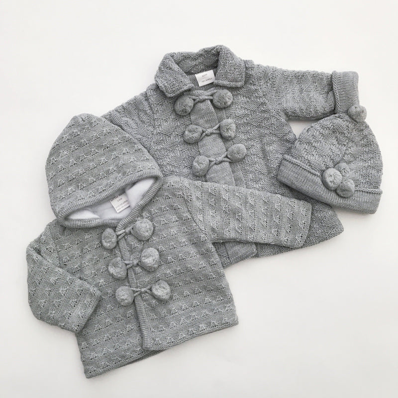 Little Nosh Grey Knitted Longline Jacket Set | Millie and John