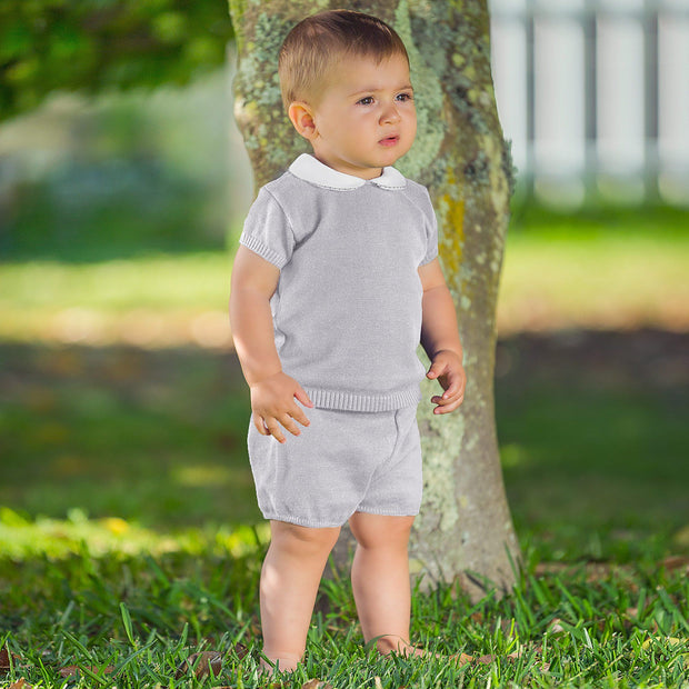 Granlei Grey Knitted Polo Shirt & Shorts | Millie and John
