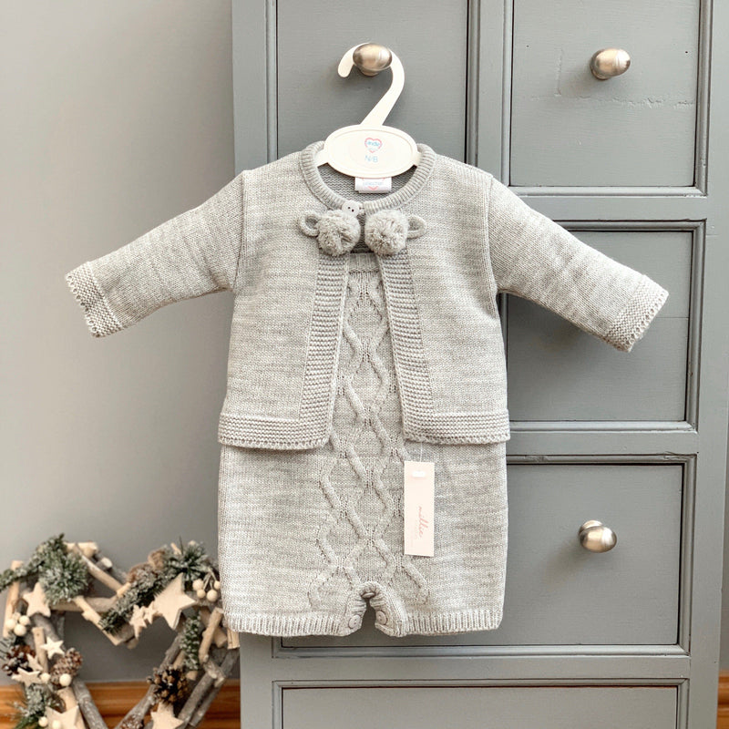 Kinder Grey Knitted Pom Pom Cardigan & Dungarees | Millie and John