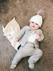 Dandelion Grey Knitted Pom Pom Set | Millie and John