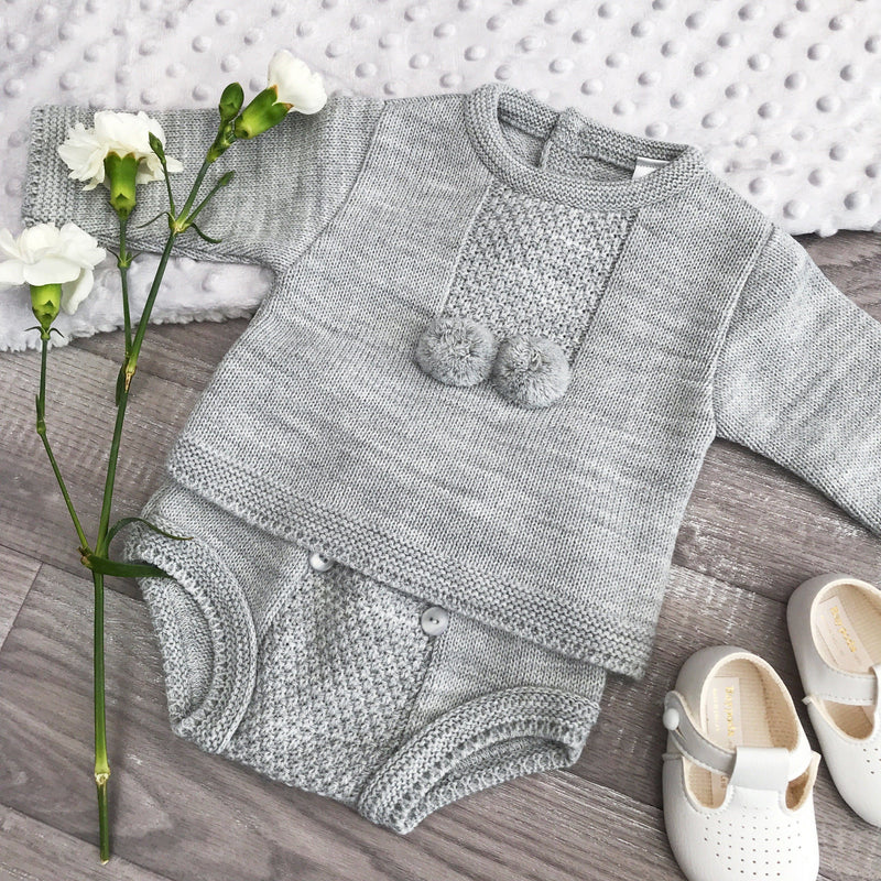 Kinder Grey Knitted Pom Pom Top & Pants | Millie and John