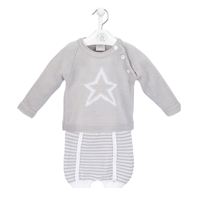 Dandelion Grey Knitted Star Top & Shorts | Millie and John