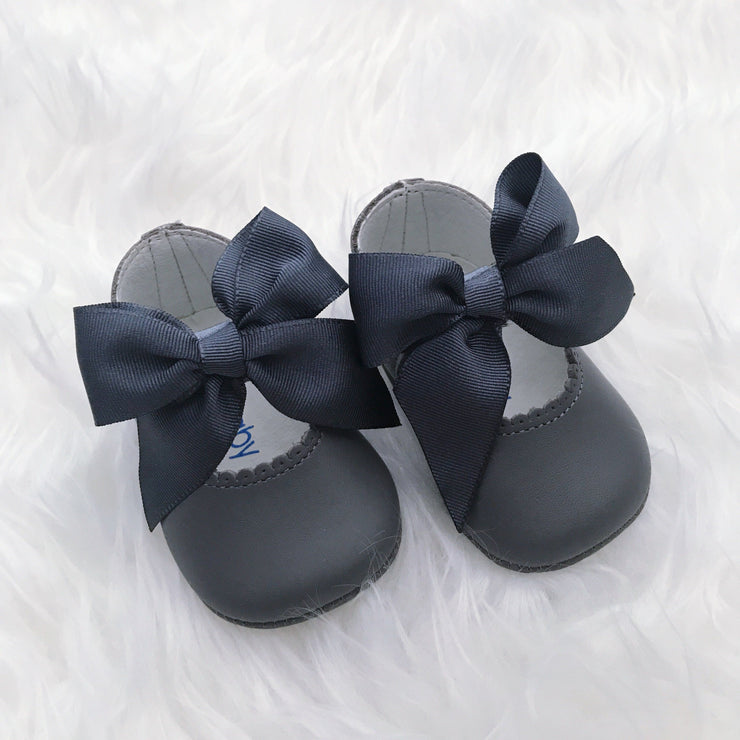 Top Baby Grey Leather Bow Soft Sole Shoes | Millie and John