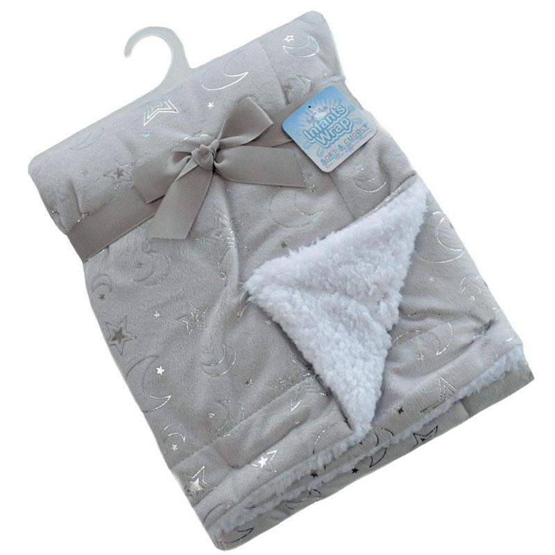 Soft Touch Grey Mink Wrap with Silver Moon & Stars | Millie and John