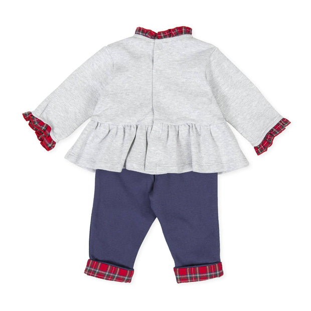 Tutto Piccolo Grey, Navy & Red Tartan Frilled Tracksuit | Millie and John