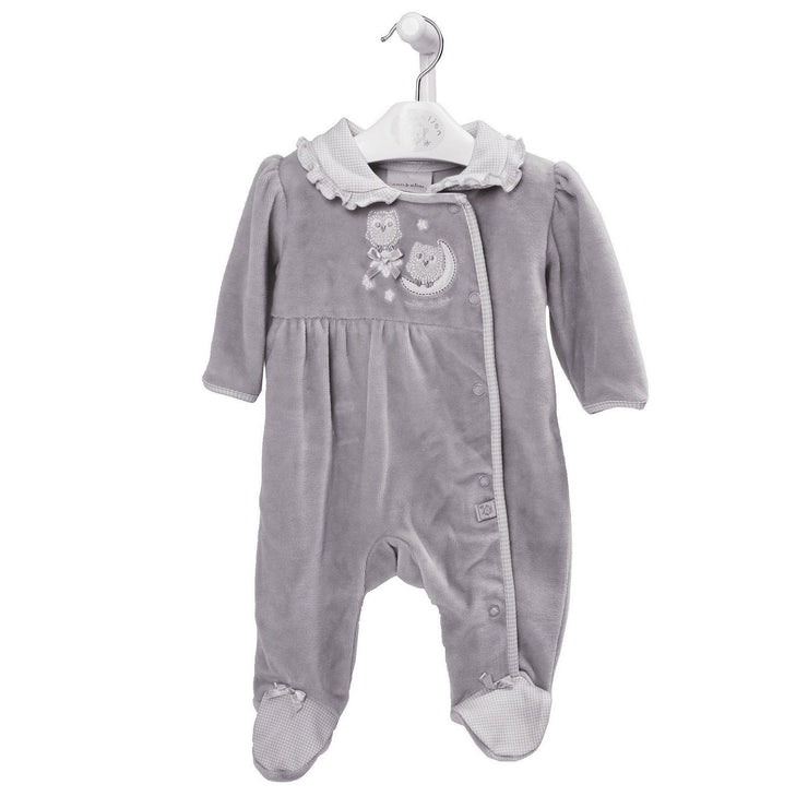 "Dandelion Grey ""Owl On The Moon"" Velour Sleepsuit 