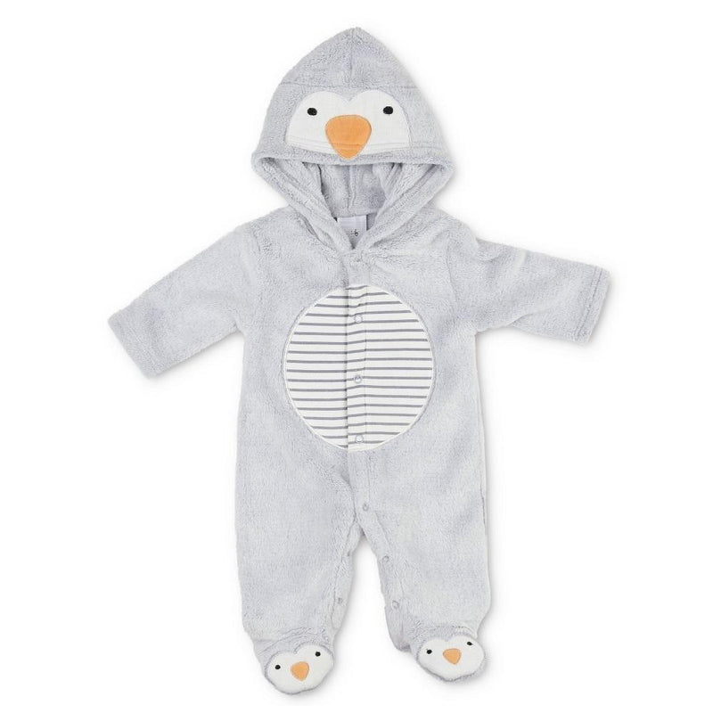 Pitter Patter Grey Penguin Fleece All In One | Millie and John