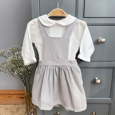 Little Nosh Grey Pinafore Dress Set | Millie and John