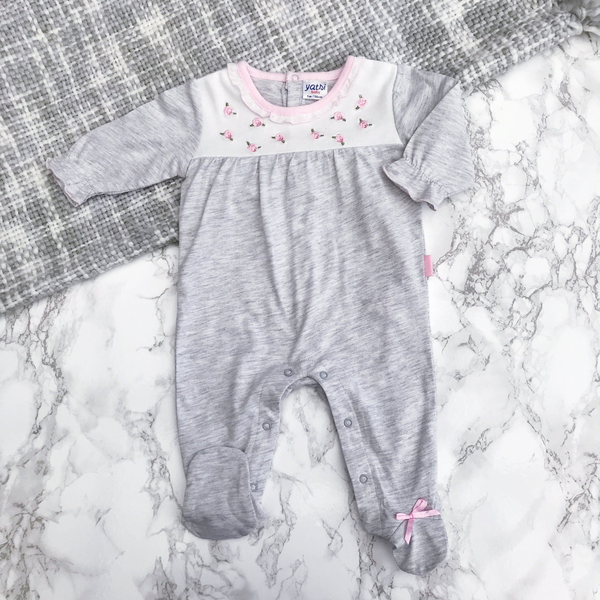 Yatsi Grey & Pink Floral Sleepsuit | Millie and John