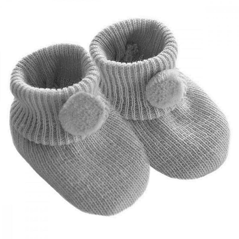 Soft Touch Grey Pom Pom Knitted Booties | Millie and John