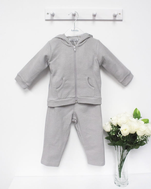 Babidu Grey Quilted Hooded Tracksuit | Millie and John