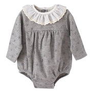 Calamaro Grey Raised Dot Romper | Millie and John