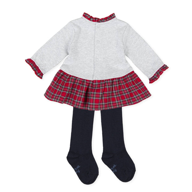 Tutto Piccolo Grey & Red Tartan Dress and Tights | Millie and John