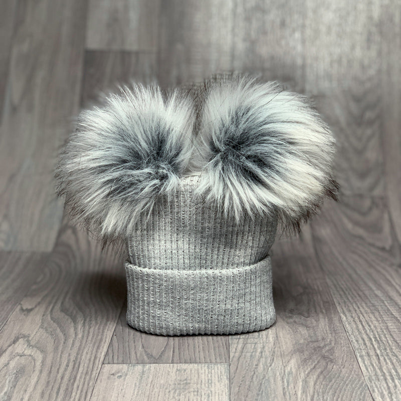 Millie and John Grey Ribbed Double Pom Pom Hat | Millie and John