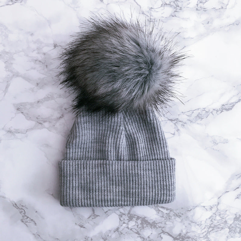 Millie and John Grey Ribbed Faux Fur Pom Pom Hat | Millie and John