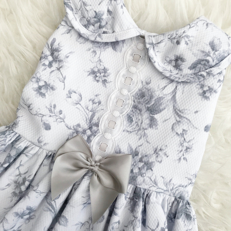 Kinder Grey Rose Drop Waist Dress | Millie and John
