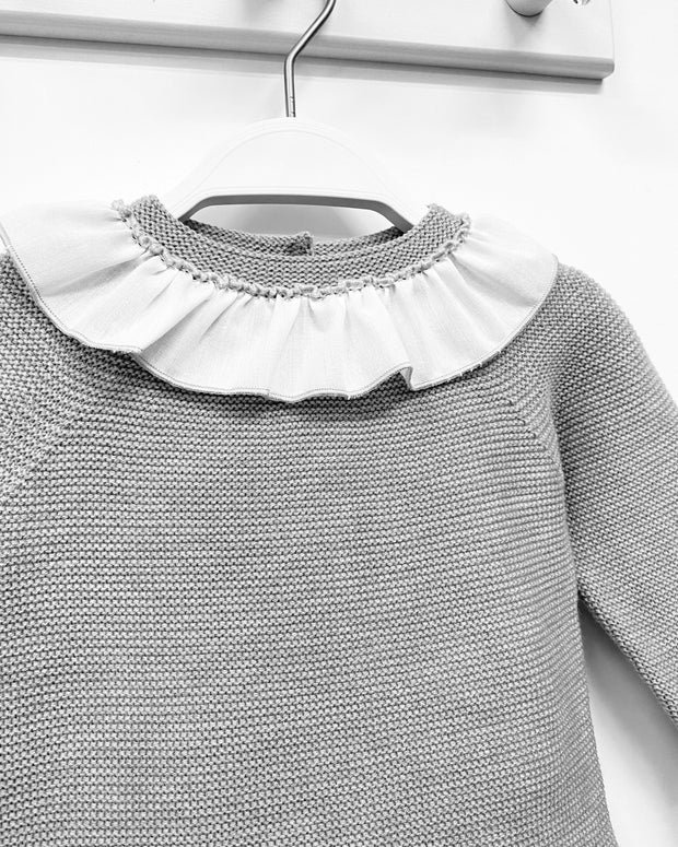 Granlei Grey Ruffle Collar Knitted Top & Leggings | Millie and John