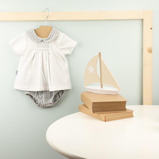 Babidu Grey Smocked Top & Striped Jam Pants | Millie and John