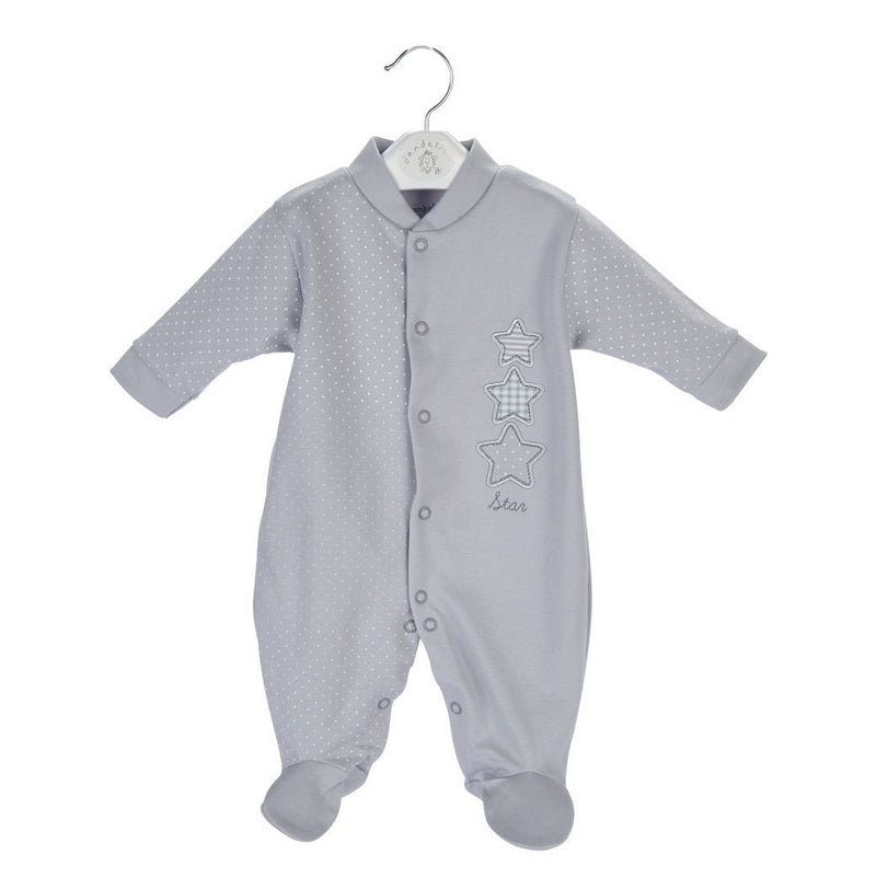 Dandelion Grey Star Sleepsuit | Millie and John