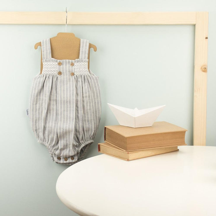 Babidu Grey Striped Smocked Romper | Millie and John