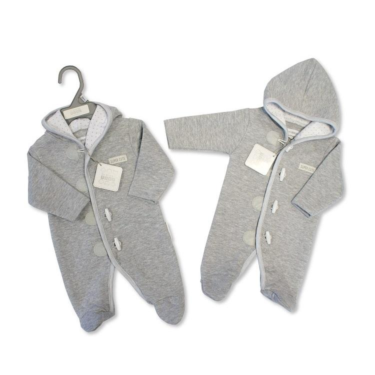 "Nursery Time Grey ""Super Cute"" Toggle Pramsuit 