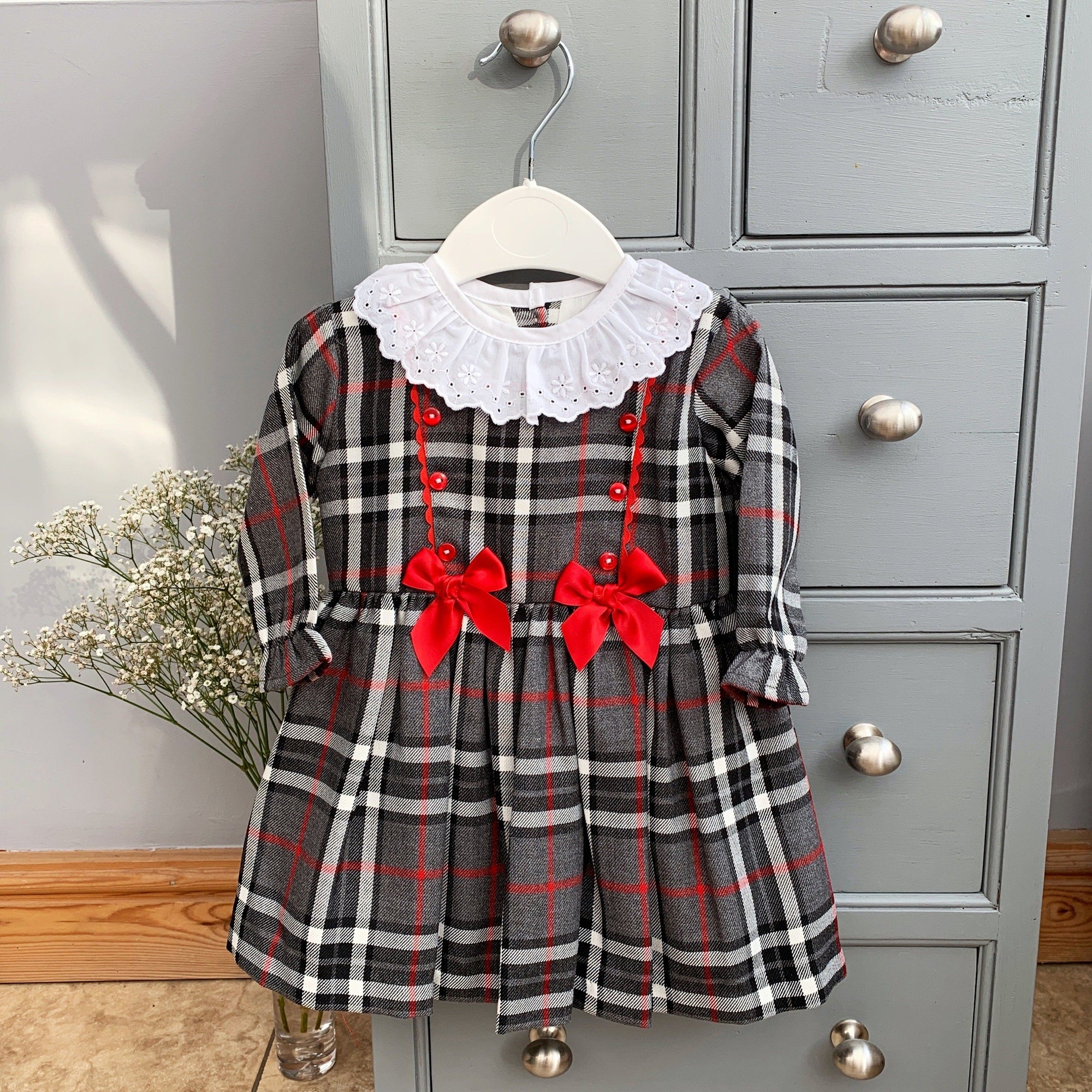 Little Nosh Grey Tartan Dress | Millie and John