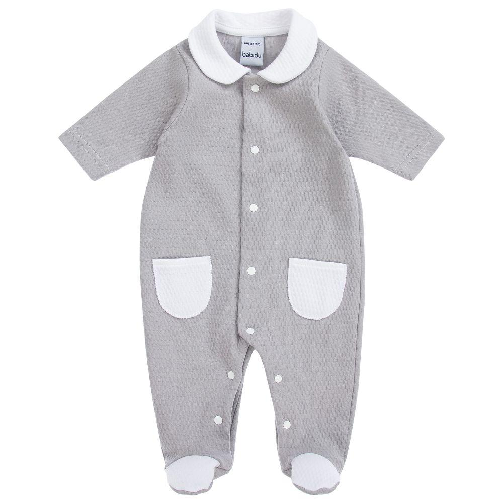 Babidu Grey Textured Sleepsuit | Millie and John
