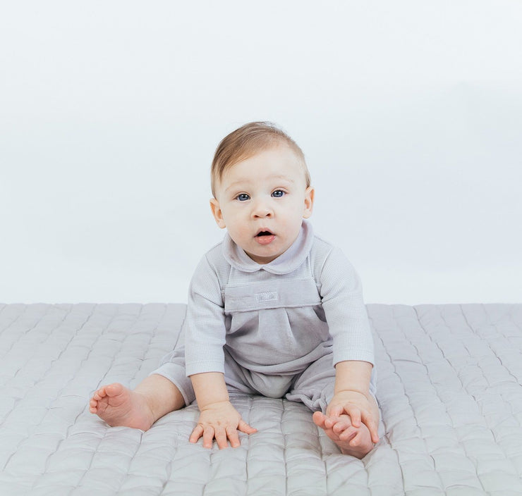 "Dandelion Grey Velour ""Owl on the Moon"" Romper 