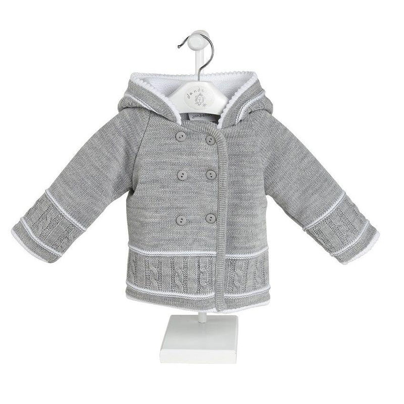 Dandelion Grey & White Knitted Hooded Jacket | Millie and John