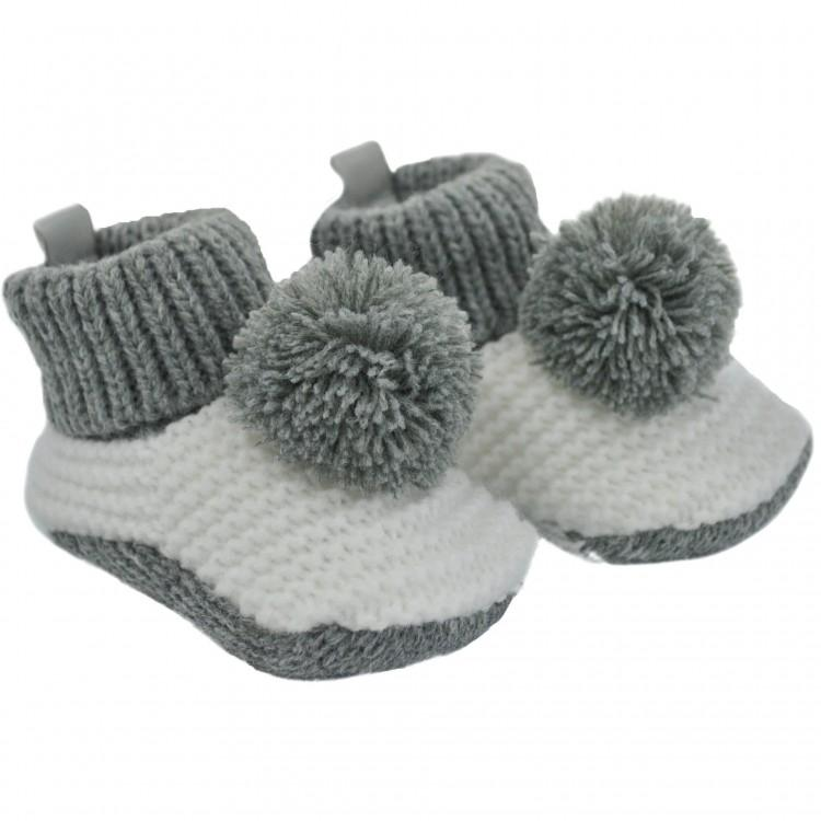 Soft Touch Grey & White Knitted Pom Pom Bootees | Millie and John