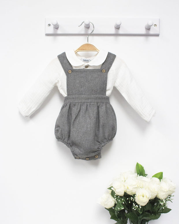 Babidu Grey Wool Dungaree Romper & Shirt | Millie and John