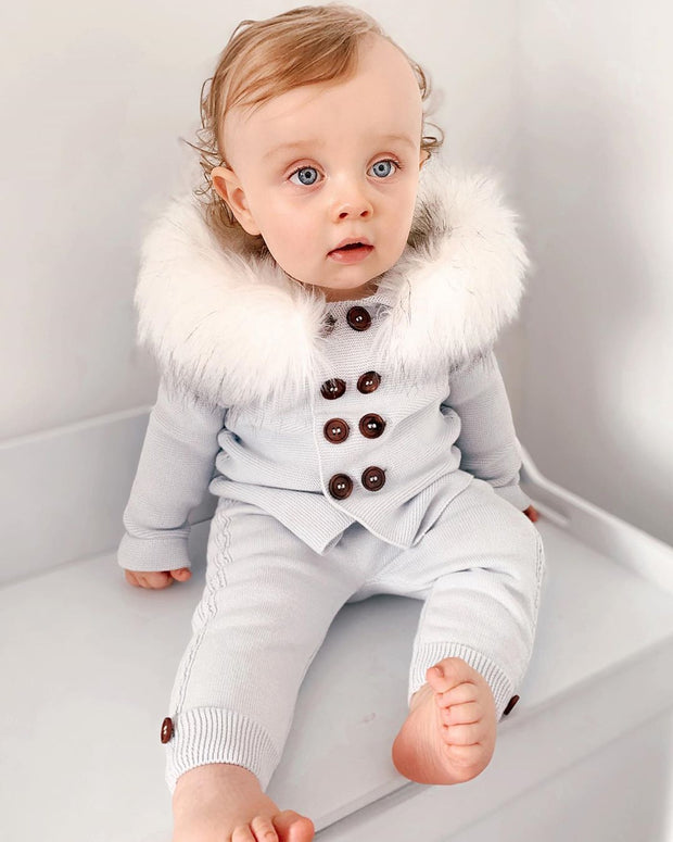 Ice Blue Knitted Faux Fur Cardigan Set