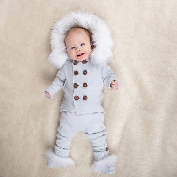 Caramelo Kids Ice Blue Knitted Faux Fur Cardigan Set | Millie and John