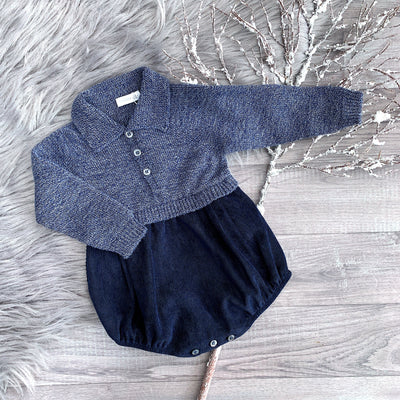 Wedoble Indigo Half Knit Romper | Millie and John
