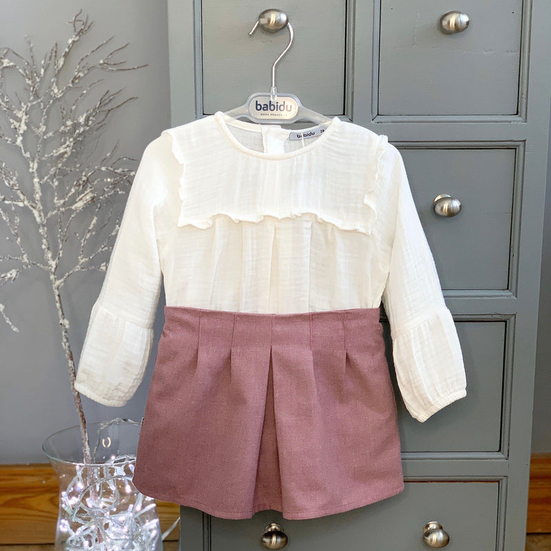 Babidu Ivory Blouse with Dusky Pink Skirt | Millie and John
