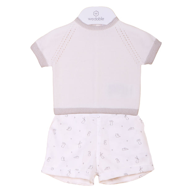 Wedoble Ivory Bunny Print Shorts & Top | Millie and John