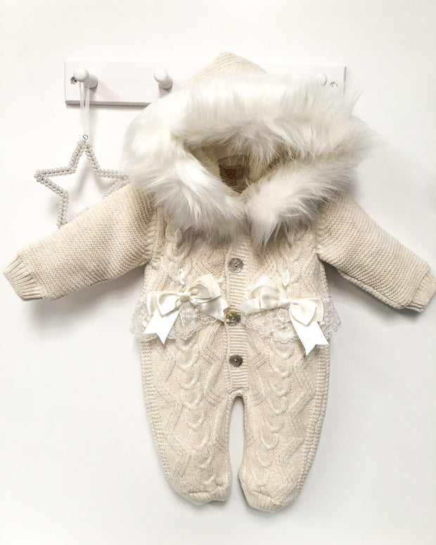 Caramelo Kids Ivory Knitted Faux Fur Bow Pramsuit | Millie and John
