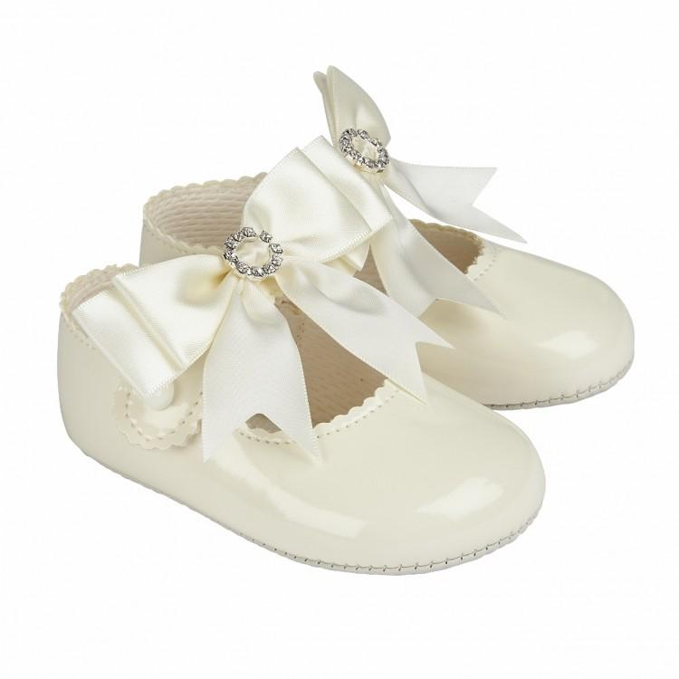Baypods Ivory Large Bow Diamanté Soft Sole Shoe | Millie and John