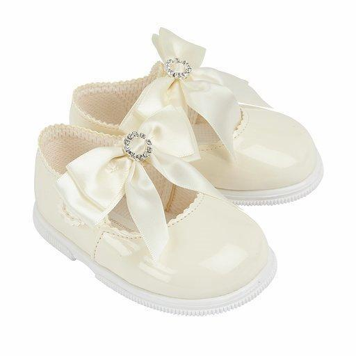 Baypods Ivory Large Diamanté Bow Hard Sole Shoes | Millie and John