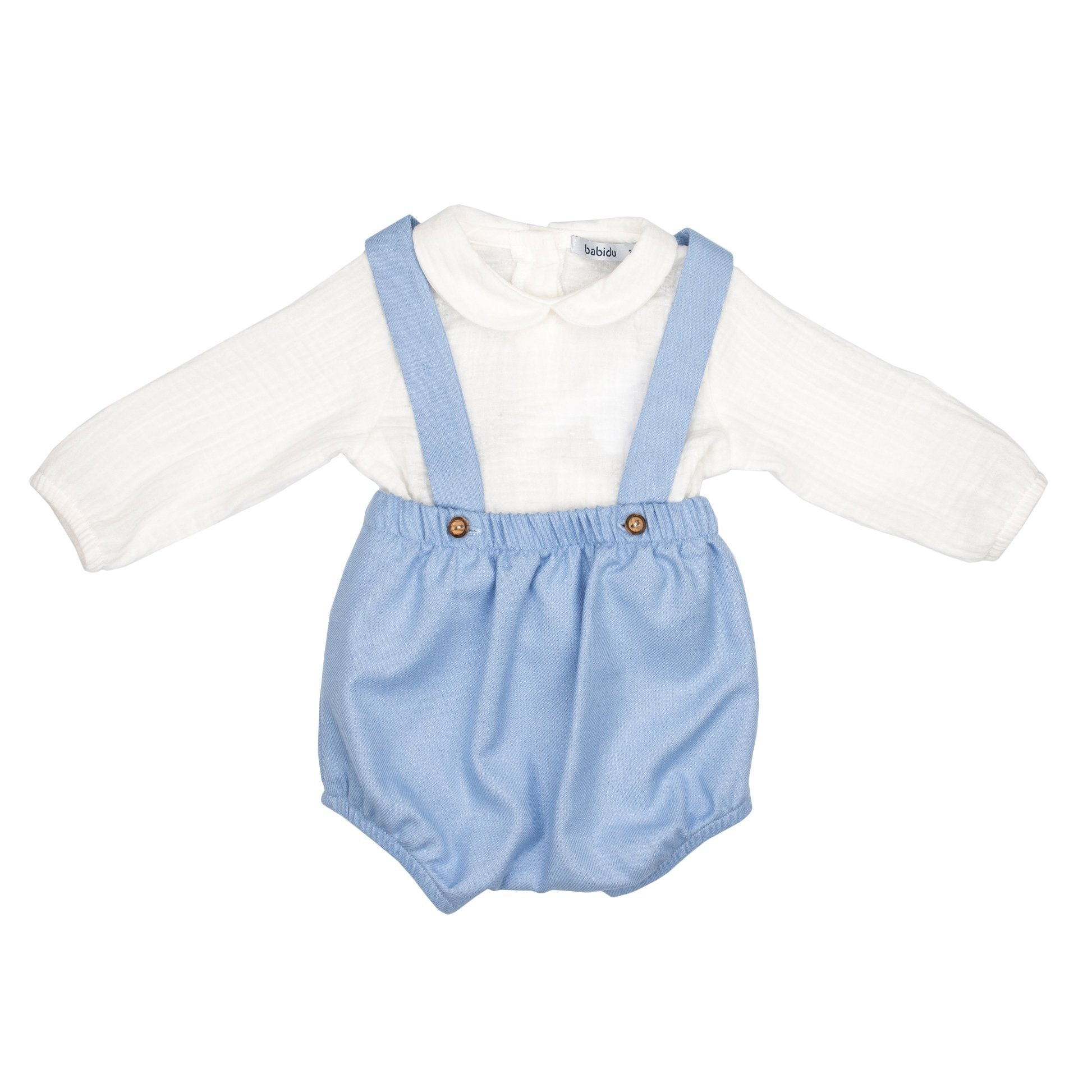 Babidu Ivory Shirt & Blue Cotton Shorts with Braces | Millie and John