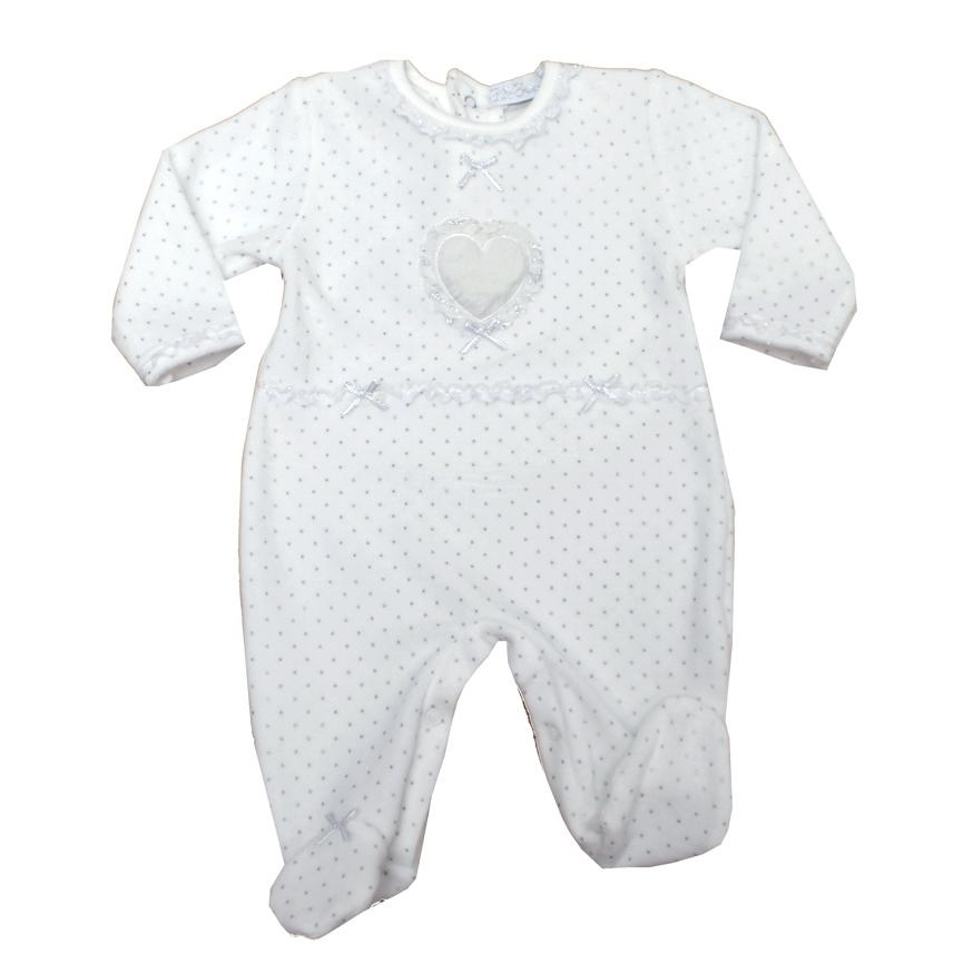 Bella Bambino Ivory & Silver Polka Dot Sleepsuit | Millie and John