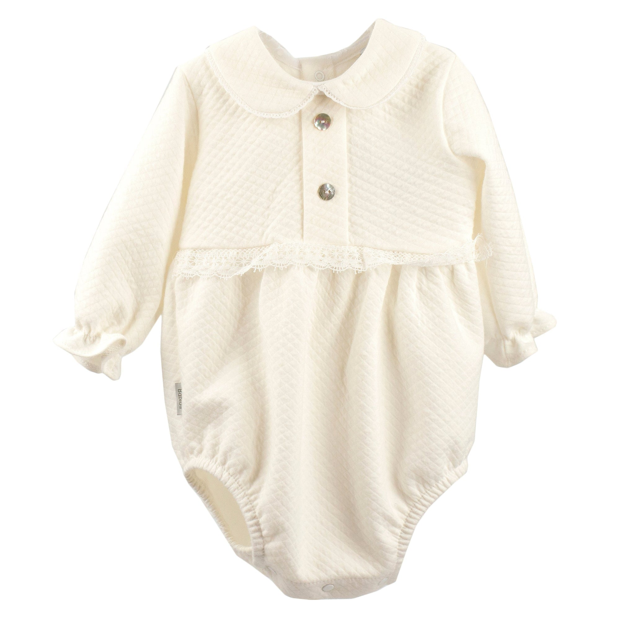 Babidu Ivory Textured Romper & Bonnet | Millie and John