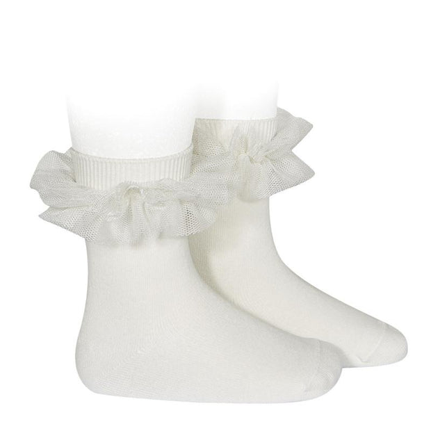 Condor Ivory Tulle Short Socks | Millie and John