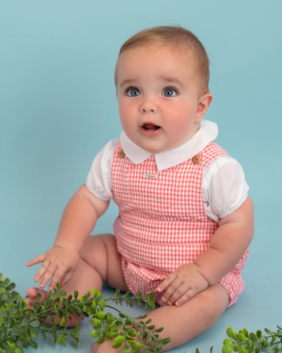 "Foque ""Jace"" Red Gingham Dungaree 